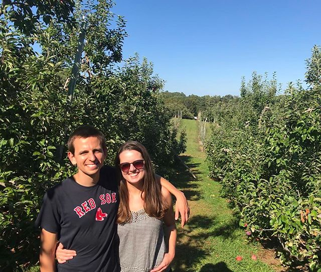 80 °F at the apple orchard: appropriate time to wear a flannel tank top 🍏 Also had to pick some Spartan apples on homecoming weekend