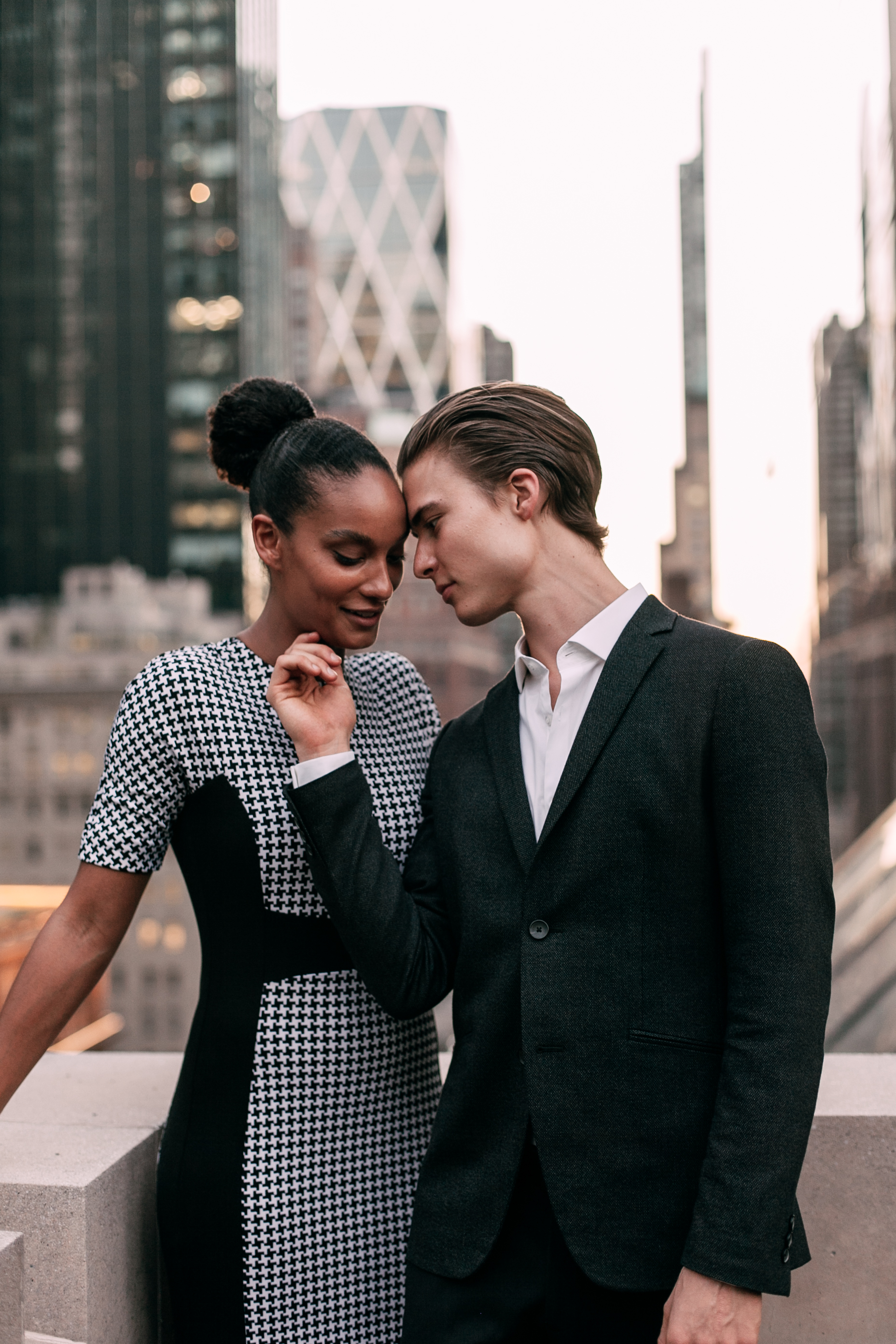 New York City engagement photographer, New York engagement photographer, NYC engagement photographer, NYC rooftop engagement session, interracial couple, New York rooftop engagement session
