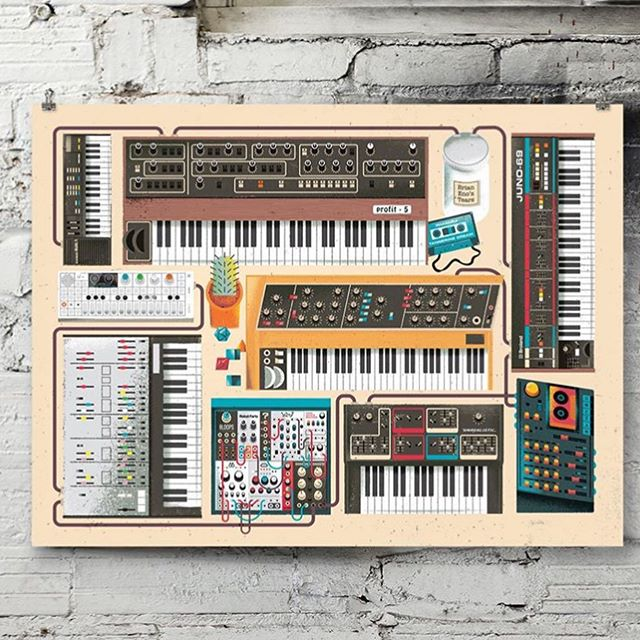 "New prints have arrived from Eric Nyffeler, including this ""Synth Dungeon"". Stop in and peruse the print racks! @ericnyffeler"