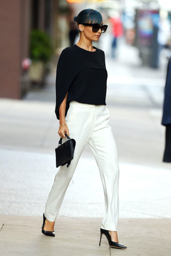 Black top and ladylike trousers in white