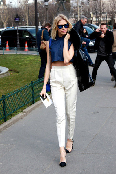 Cropped black top and white pants
