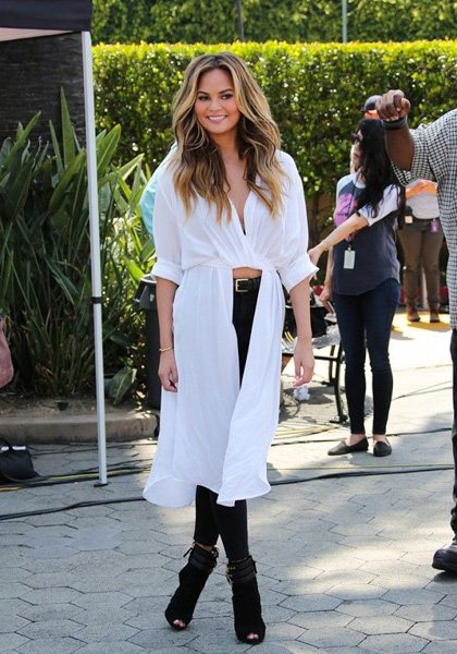 White flowing shirtdress and black jeans