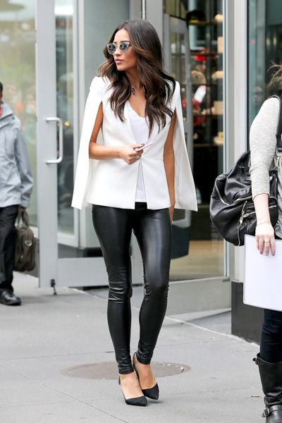 White cape jacket and black leather pants