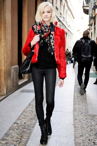Black and red floral scarf