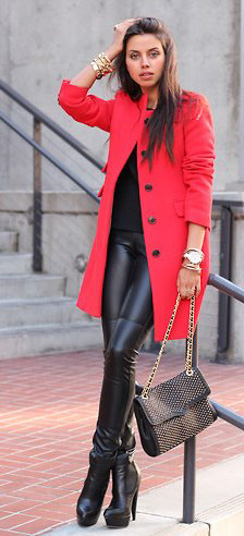 Lady classic-cut red coat and leather leggings