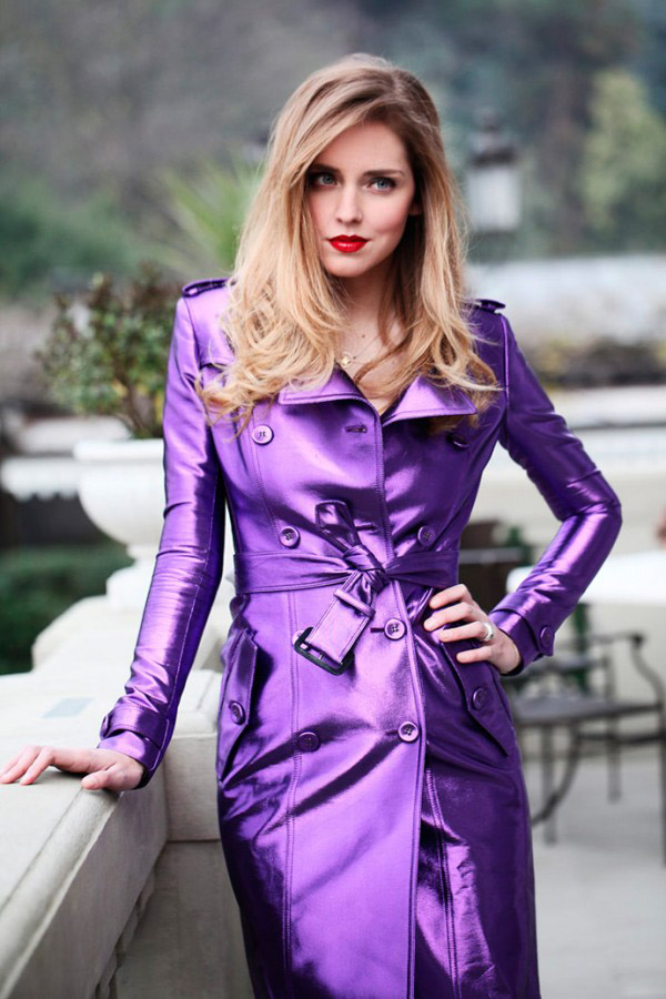 Rock a purple trench coat and red lips