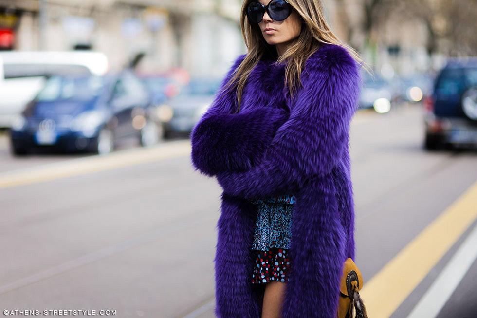 Oversize purple fur coat