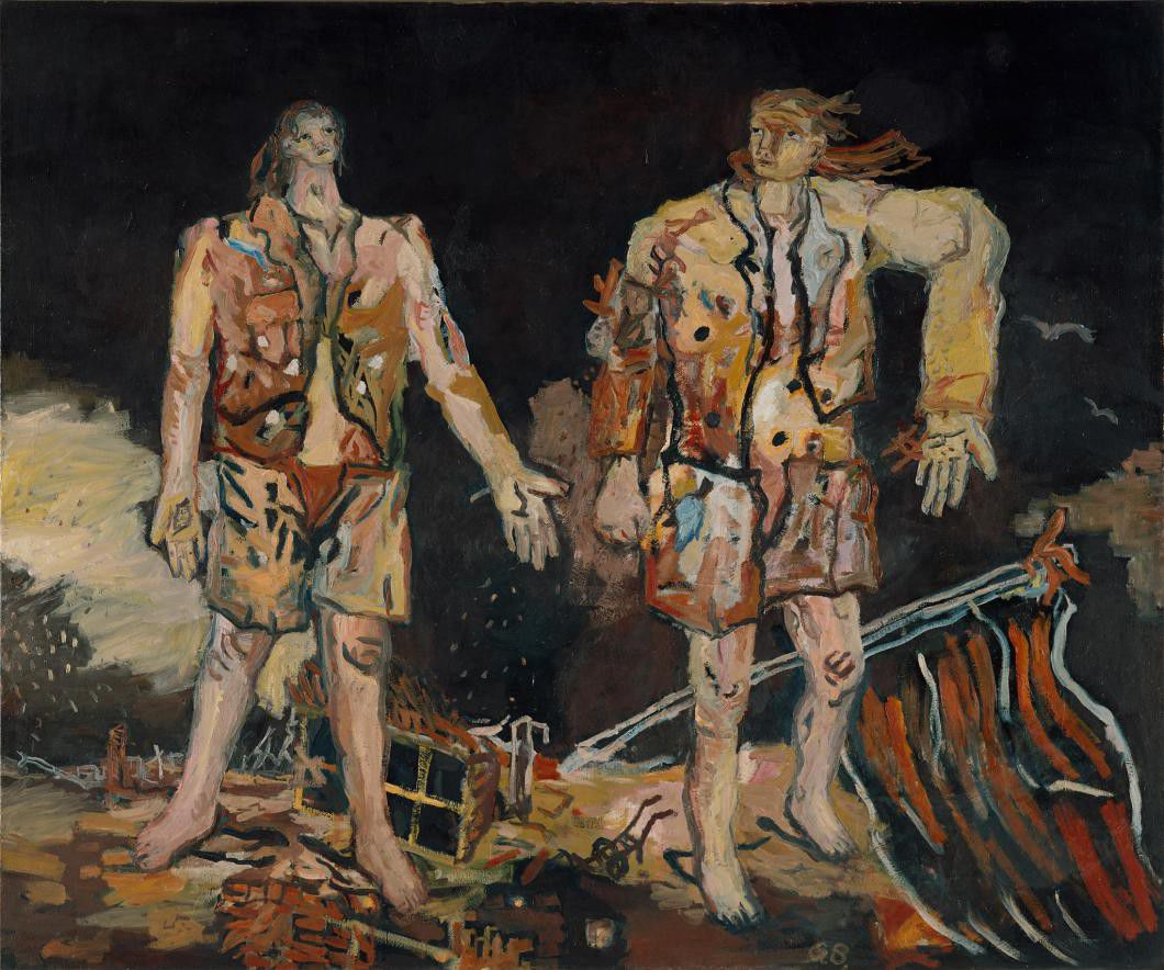 Georg Baselitz,  The Great Friends , 1965, oil on canvas, 98.4 x 118.1 inches (250 x 300 cm) © Georg Baselitz 2016, courtesy Museum Ludwig, Cologne.Photo by Frank Oleski, Köln