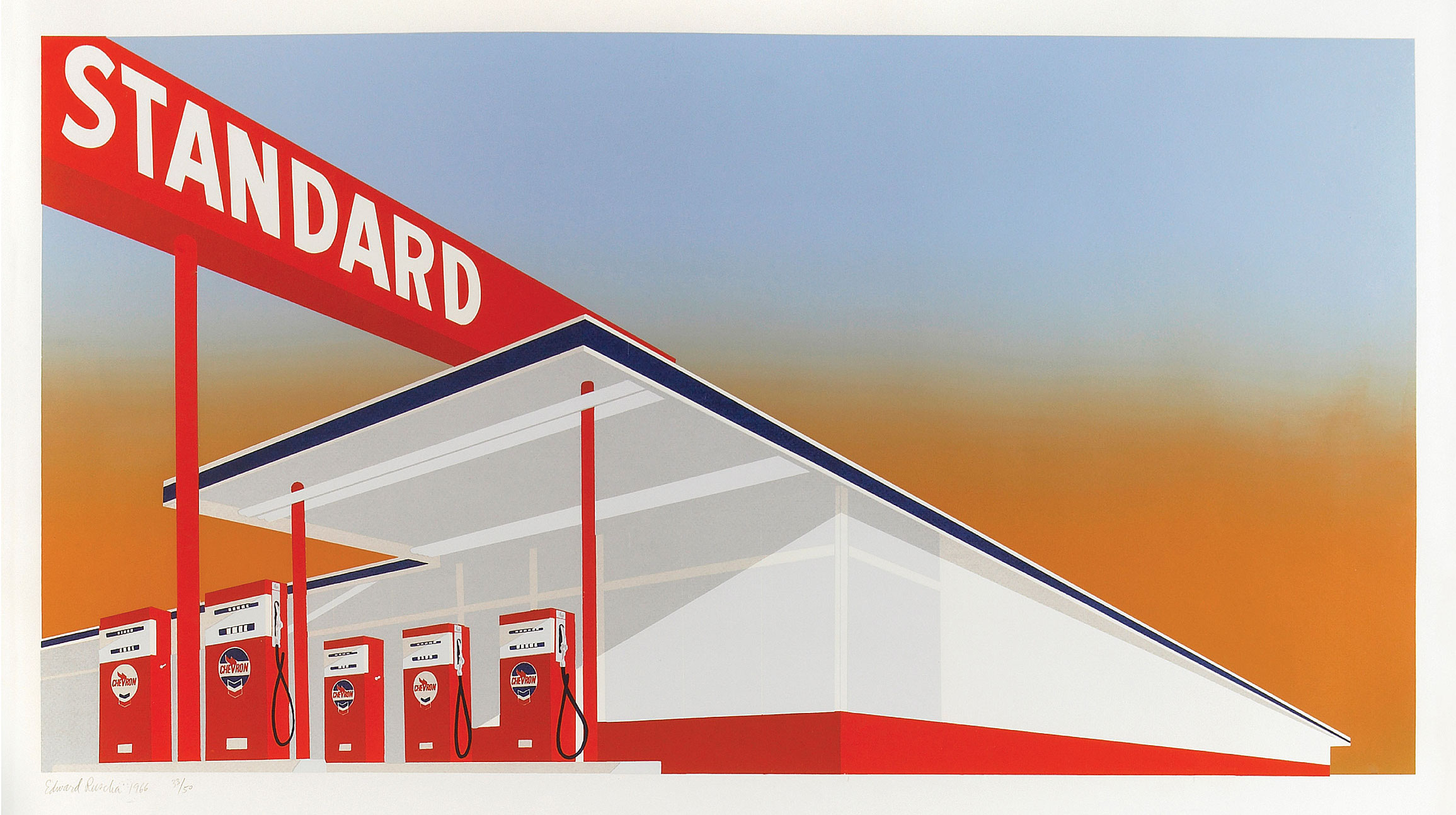 Ed Ruscha,  Standard Station , 1966, color screenprint, 25 5/8 × 40 inches (65.1 × 15.7 cm). Published by Audrey Sabol, Villanova, PA. Fine Arts Museums of San Francisco, Museum purchase, Mrs. Paul L. Wattis Fund, 2000.131.5.1 © Ed Ruscha