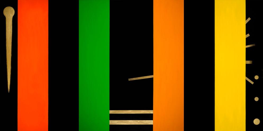 Osvaldo Mariscotti,  Color Symphony in Black , 2016, oil and enamel on canvas (triptych), 60 × 120 inches (152.4 ×304.8 cm) © Osvaldo Mariscotti 2016, courtesy Upsilon Gallery, New York.Photo by Caius Filimon, New York