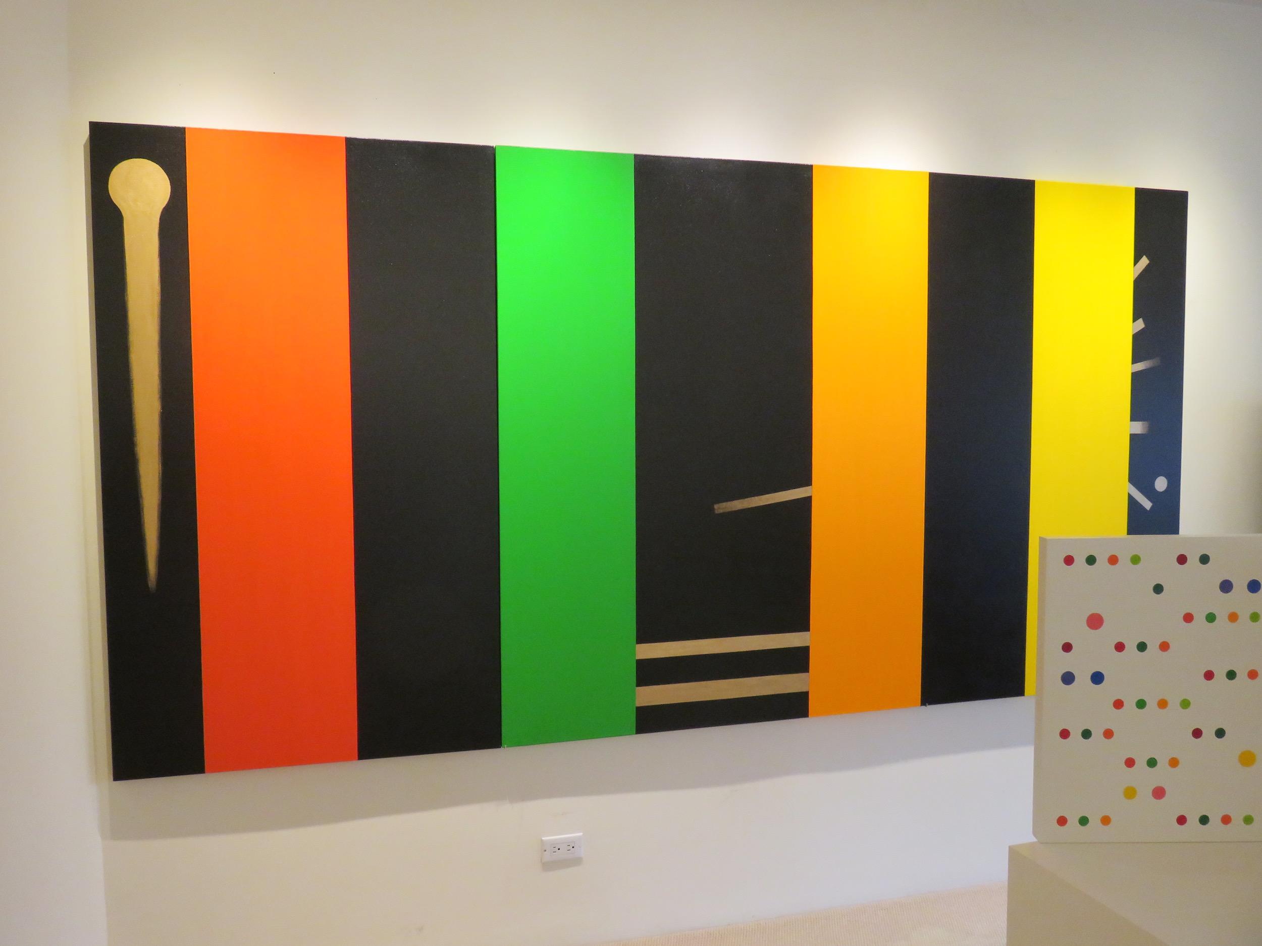 Above: Installation view,  Osvaldo Mariscotti: New Paintings and Sculpture , Upsilon Gallery, New York, 2017.