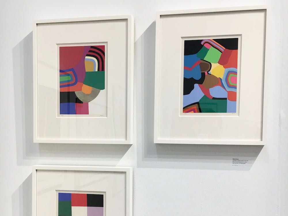 Above:  Untitled  (Calvesi 45-50), 1973-76, The complete set of six screenprints in colors, Each 16 3/4 x 13 5/8 in. (42.5 x 34.6 cm);  Color Theory: An Exhibition , Upsilon Gallery, New York, 2018. Photo by Caius Filimon.