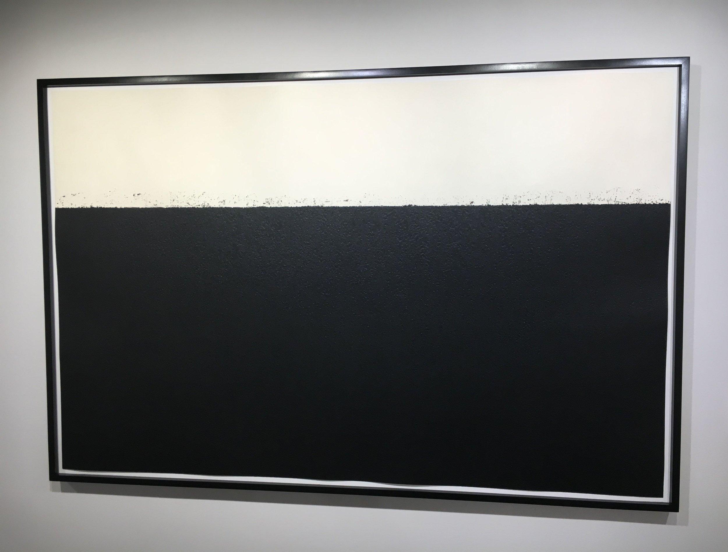 Above:  Level II , 2008, Etching, on Kozo Misumi paper, 46 1/2 x 70 in. (118.1 x 177.8 cm);  Geometric Abstraction: Albers, Burri, Förg, Knoebel, Serra , Upsilon Gallery, New York, 2018. Photo by Caius Filimon.