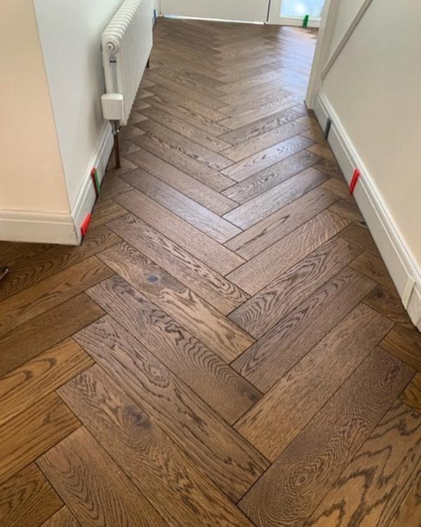 P A R Q U E T • in the process of laying some @atkinson_kirby engineered oak parquet flooring in Larkhall, Bath 😊 #parquet #floorlaying #carpenters #bathuk