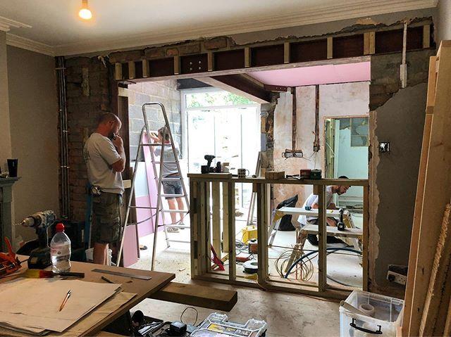 K I T C H E N • so excited to see how this space develops over the next couple of months. Expect birch plywood, marble, oak flooring and white melamine ply storage. 👏👏👏 #builders #bathuk #kitchendiner #buildingwork #renovation #knockthrough #plasterboarding #drylining #kitchendesign #kitchenremodel