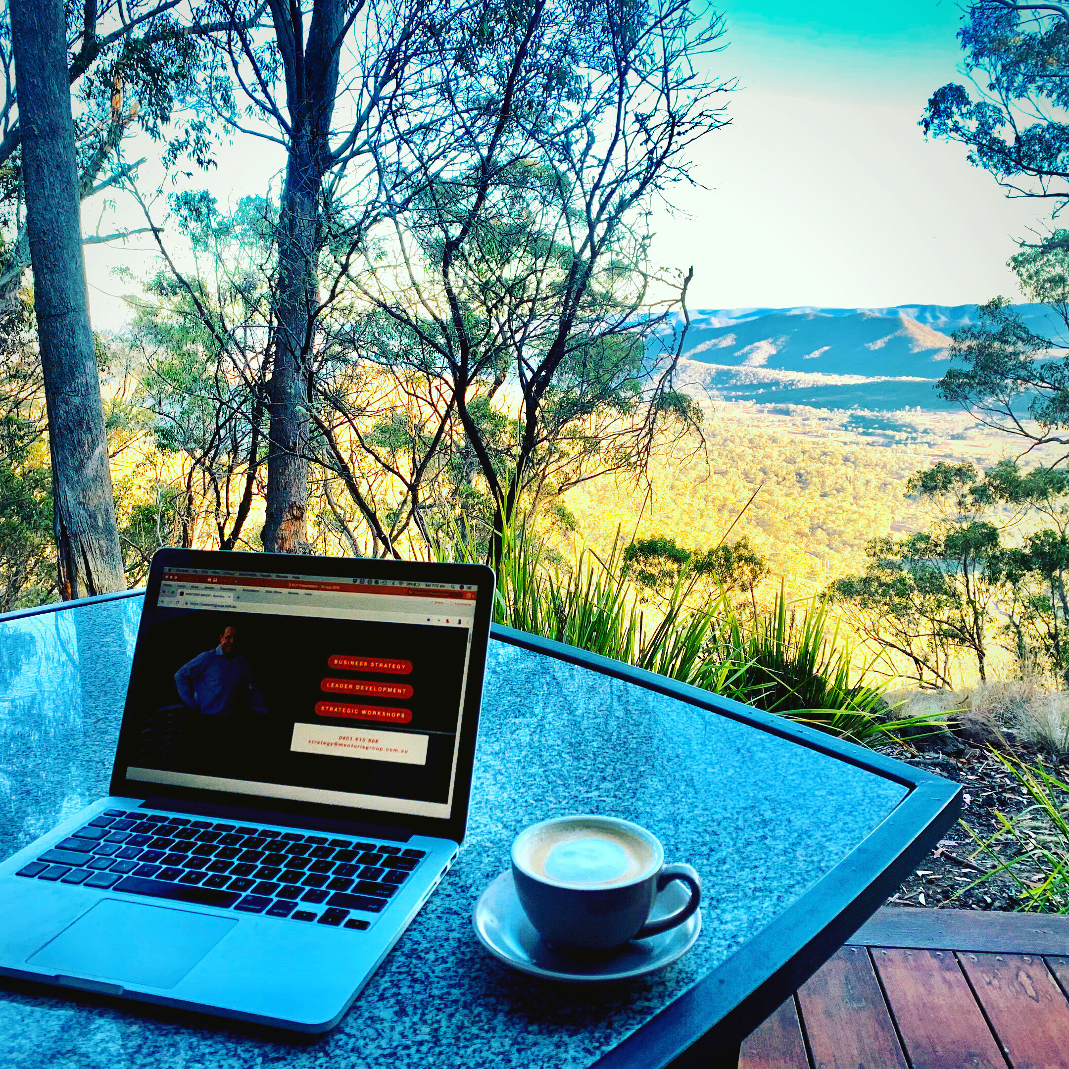 work and coffee alone in the mountains