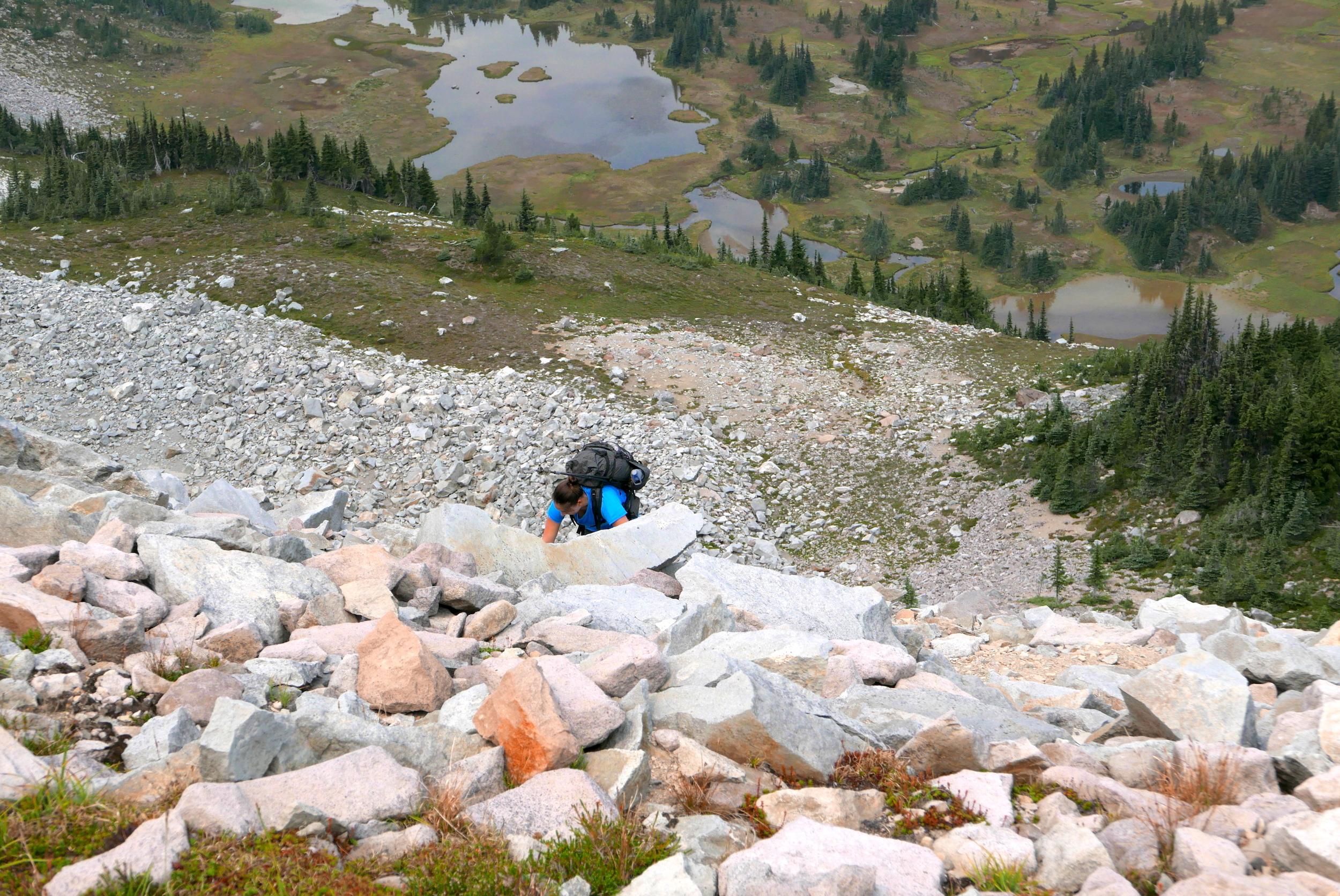 climbing the second barrier, Elysian Fields below