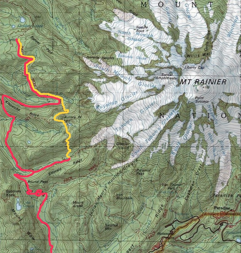 RED=track covered for ingress and egress....YELLOW=actual trail coverage