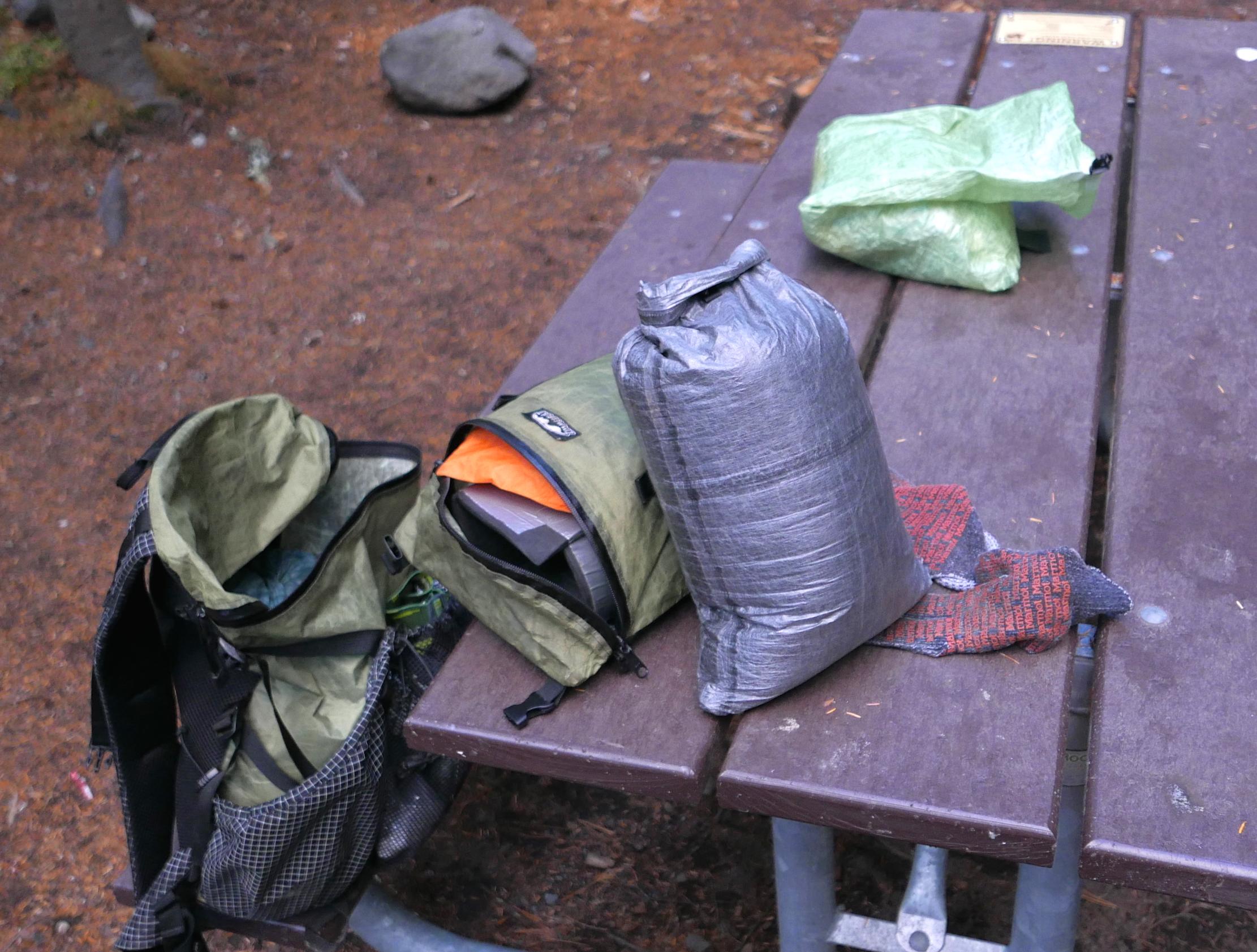 stuff sack contained EE 50 degree quilt/Borah Gear down jacket/EE Hoodlum/EE booties