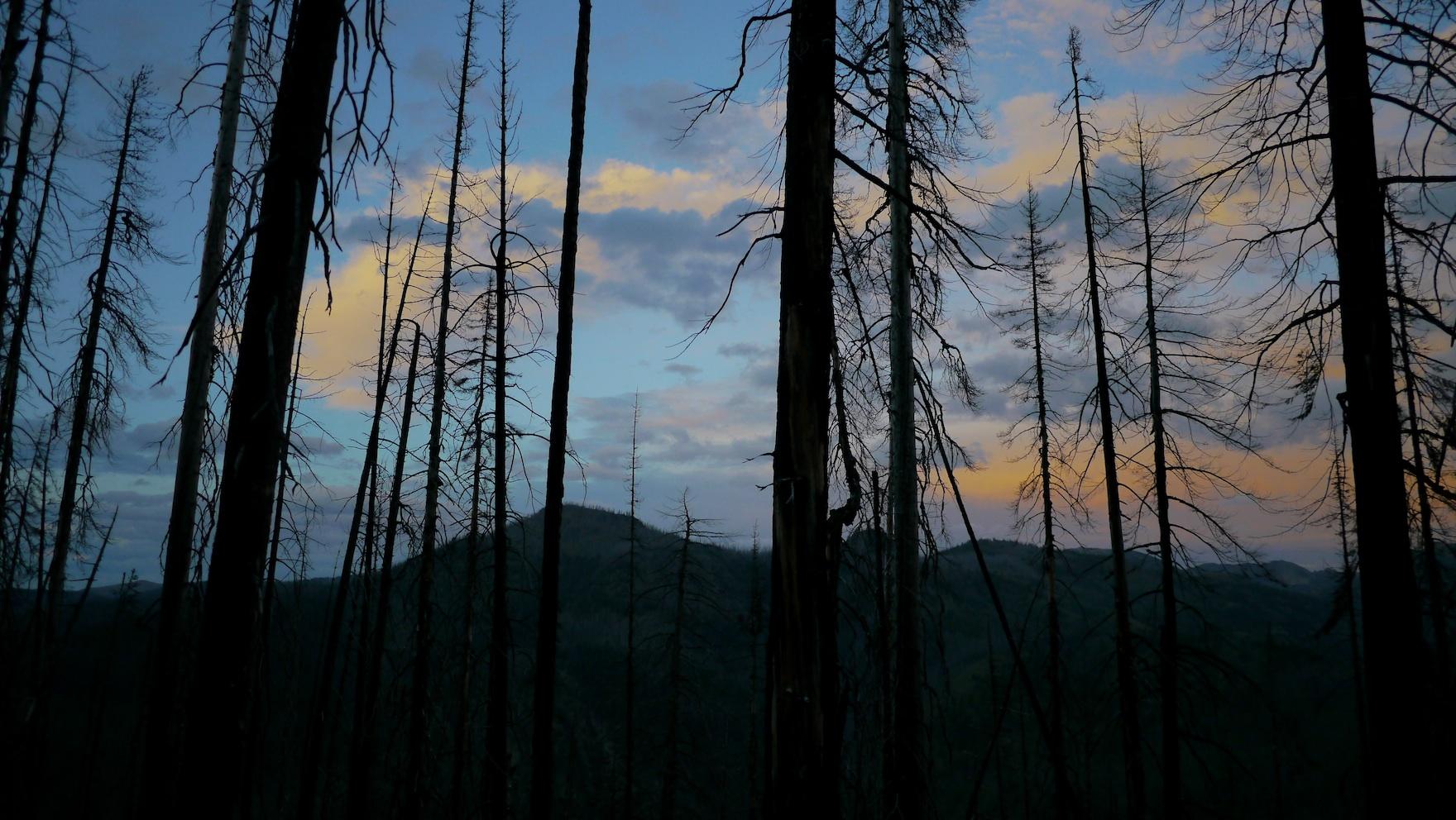 night approaches near Hidden Lakes