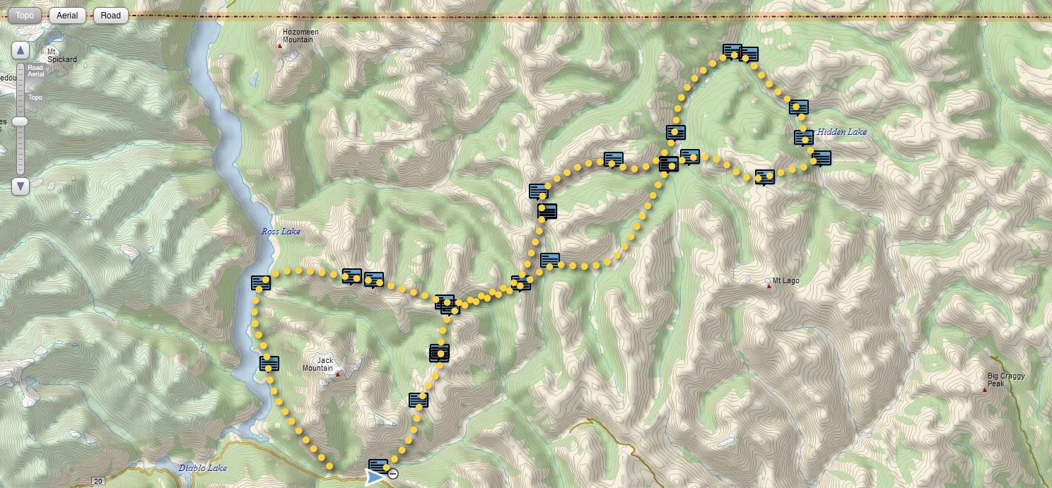 Pasayten wilderness route with InReach position reports