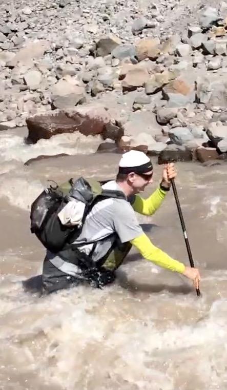 2015: crossing Eliot Creek with custom Zimmerbuilt packs on the Timberline Trail, Mt. Hood