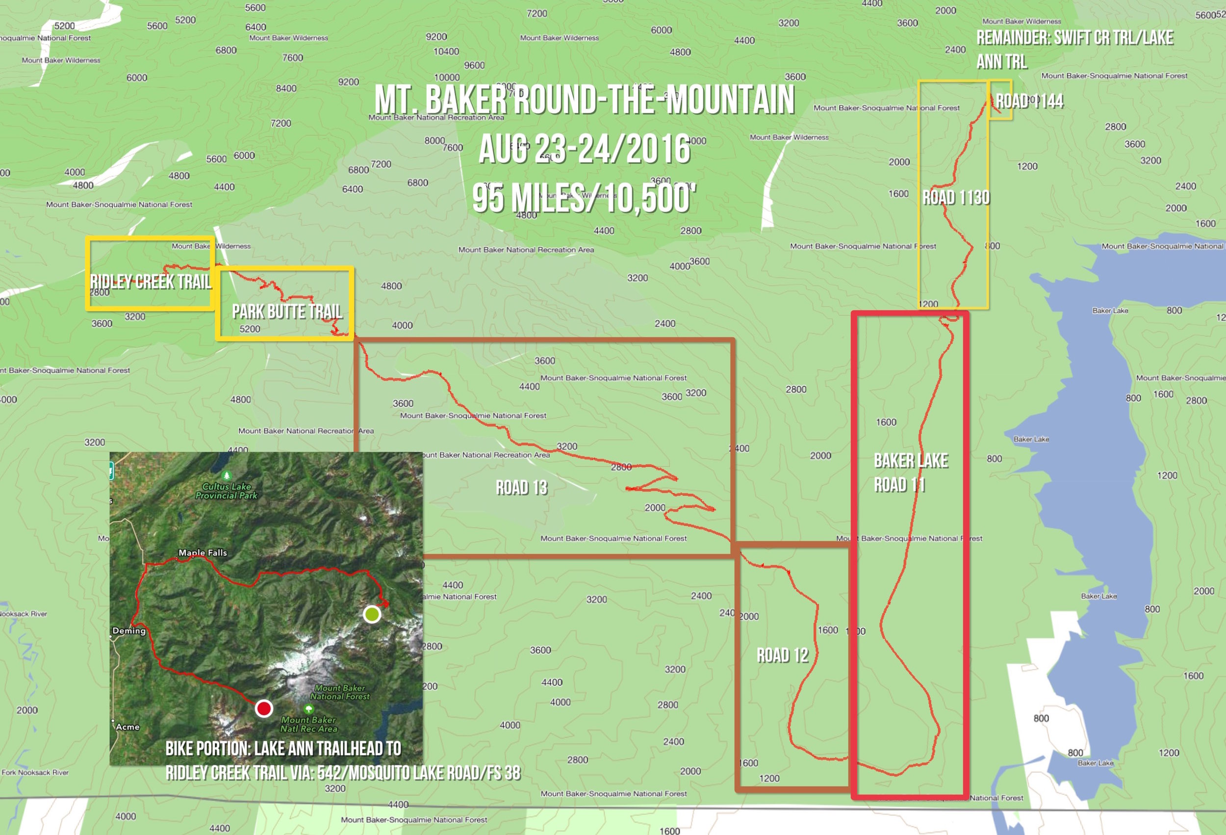 Mt. Baker Round-The-Mountain route: 58 miles biking, 37 miles walking
