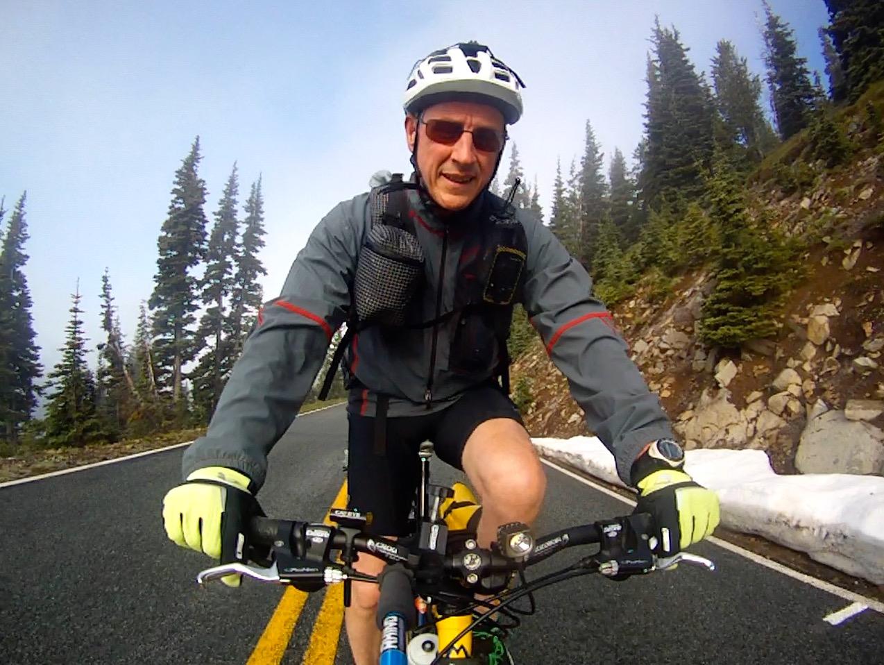 Zimmerbuilt custom pack with shoulder strap pockets (biking Rainier)
