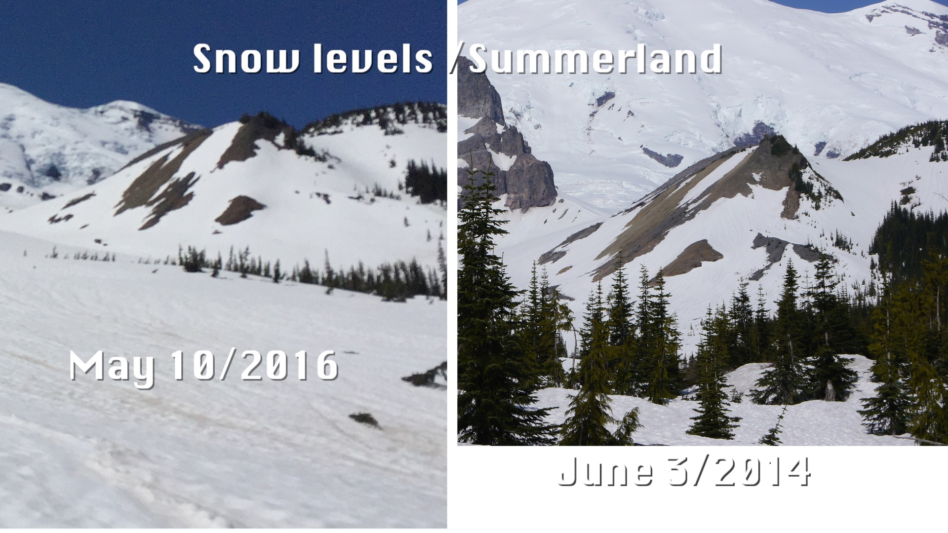 reference snow levels on background hill