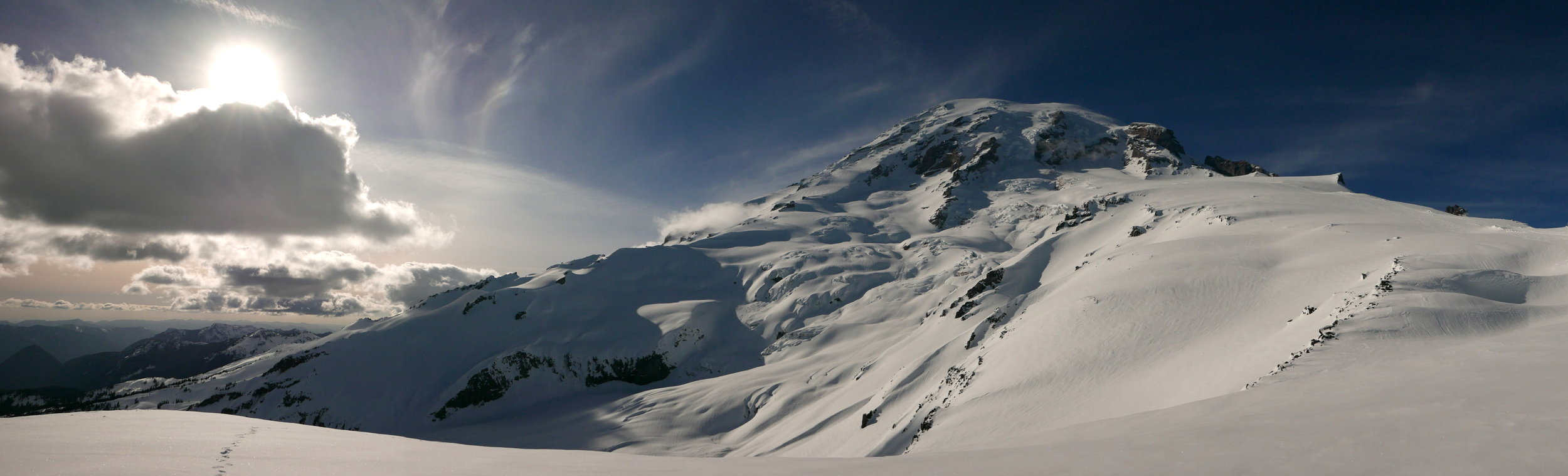 Muir snowfield to the right