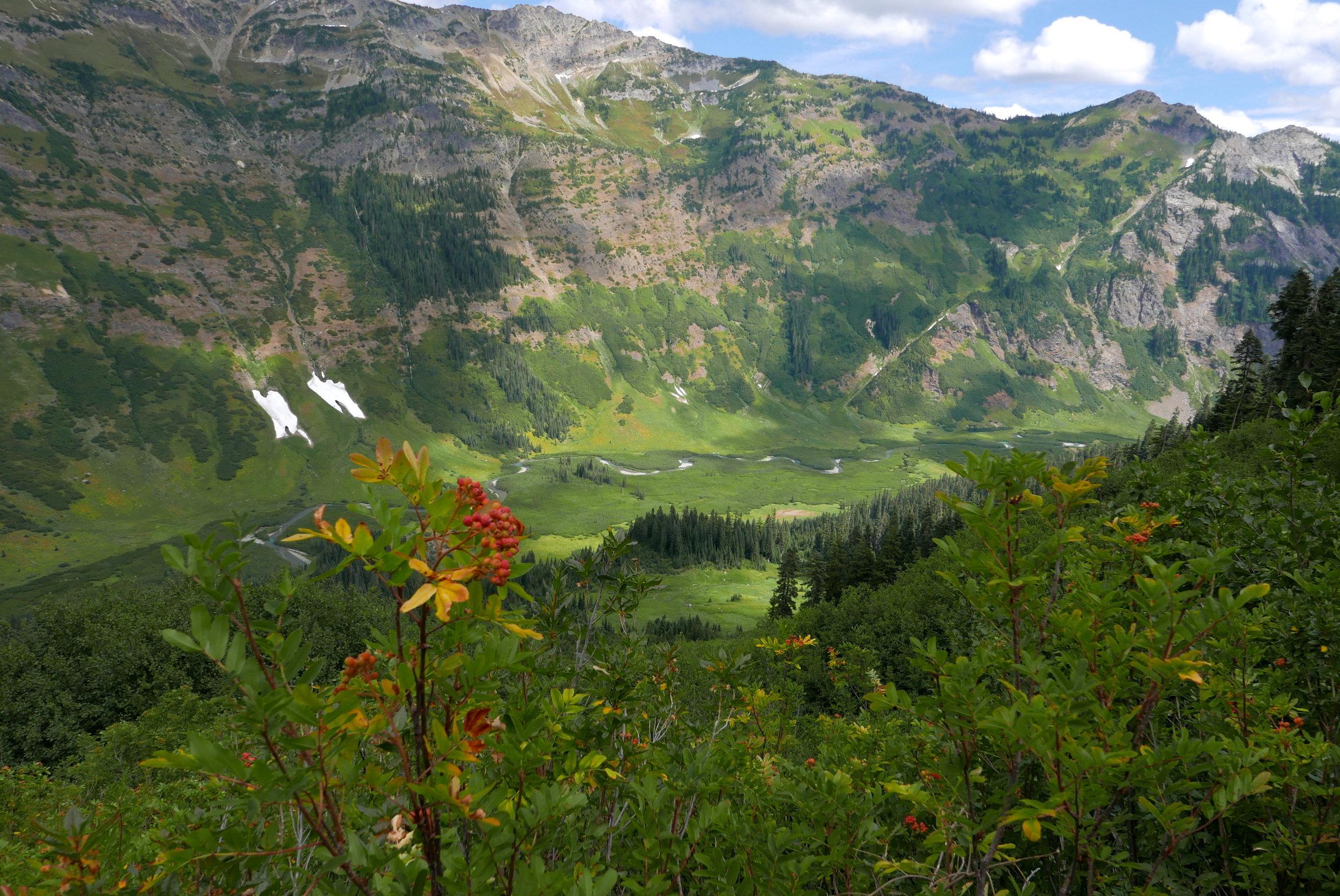 gazing down on the Napeequa Valley below Boulder Pass