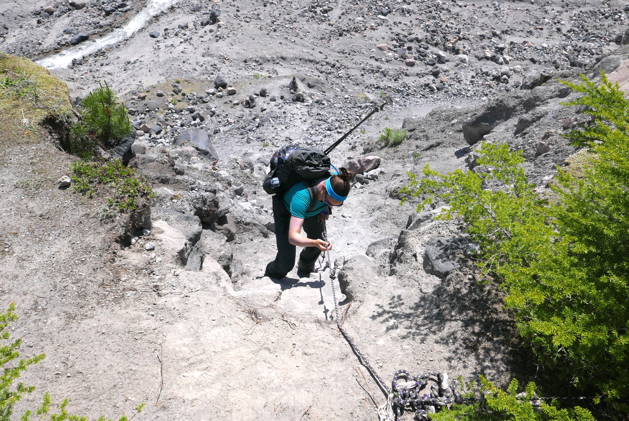 descending to the South Fork Toutle River, Mt. St. Helens