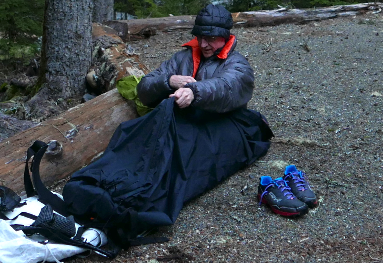The OR Wilderness Cover in use as a fully enclosed bivy bag