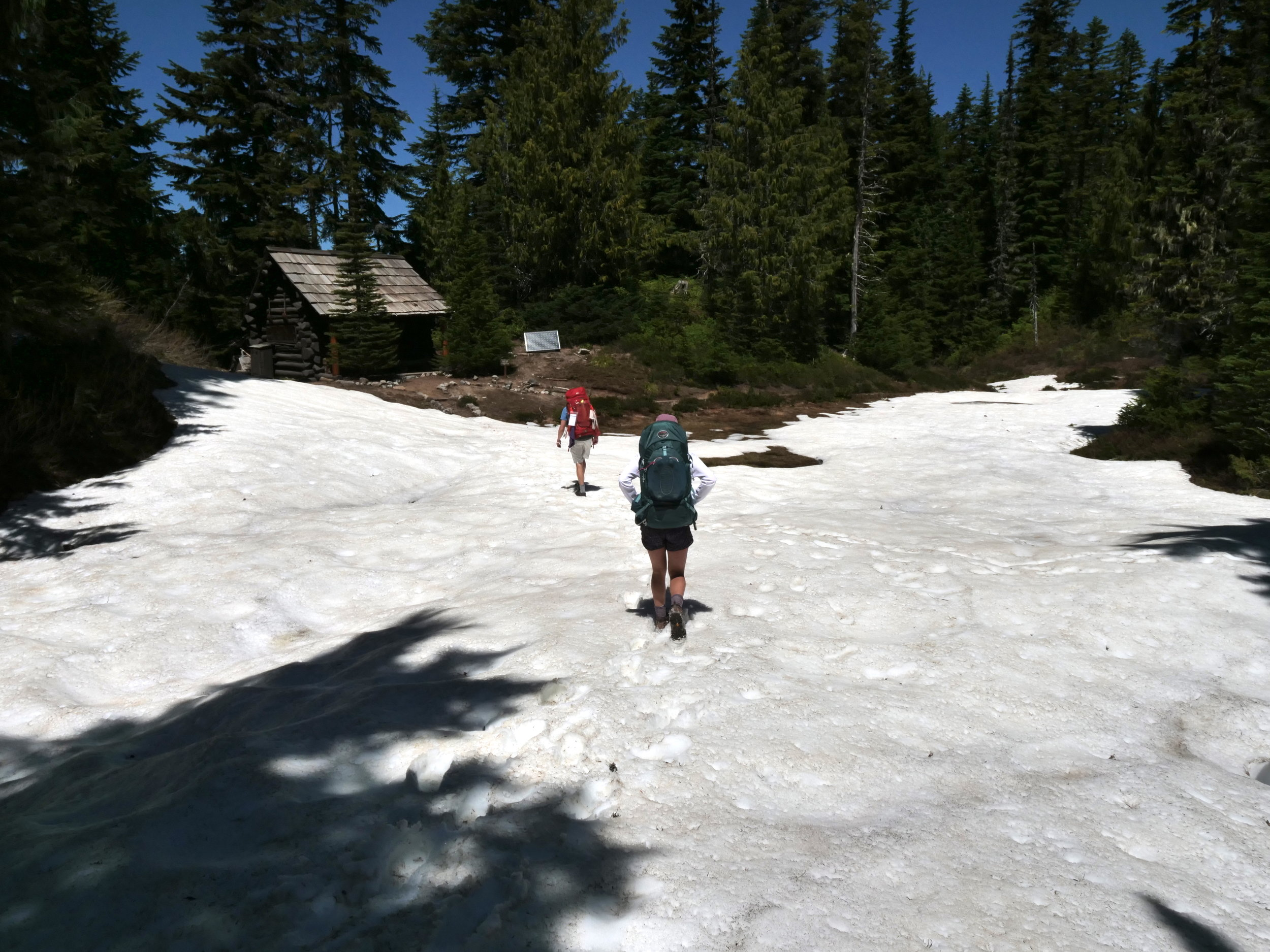 Snow at Golden Lakes Patrol Cabin (6/24/18)