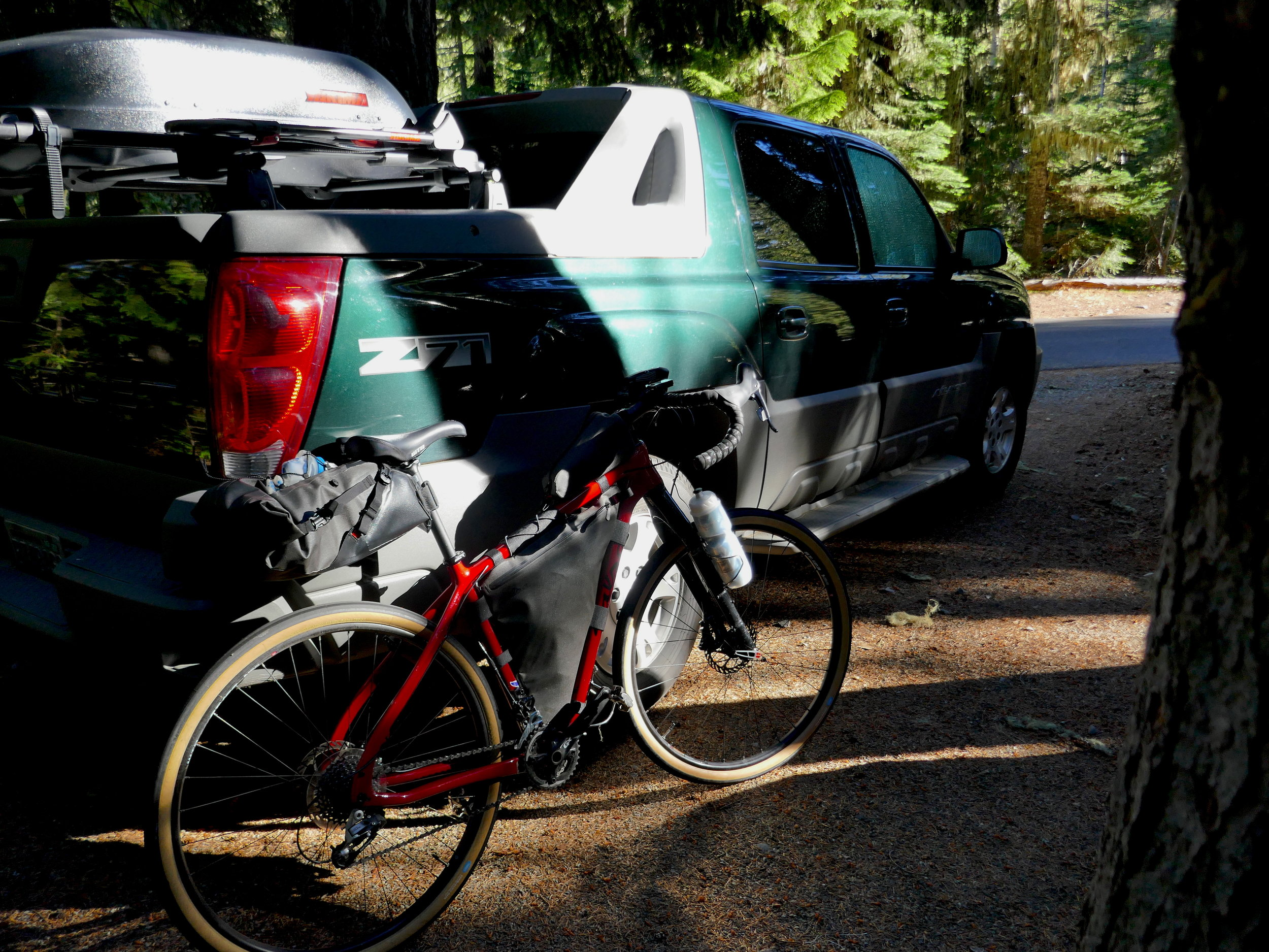Evening light at White River campground: Avalanche RV and Salsa Cutthroat Rival