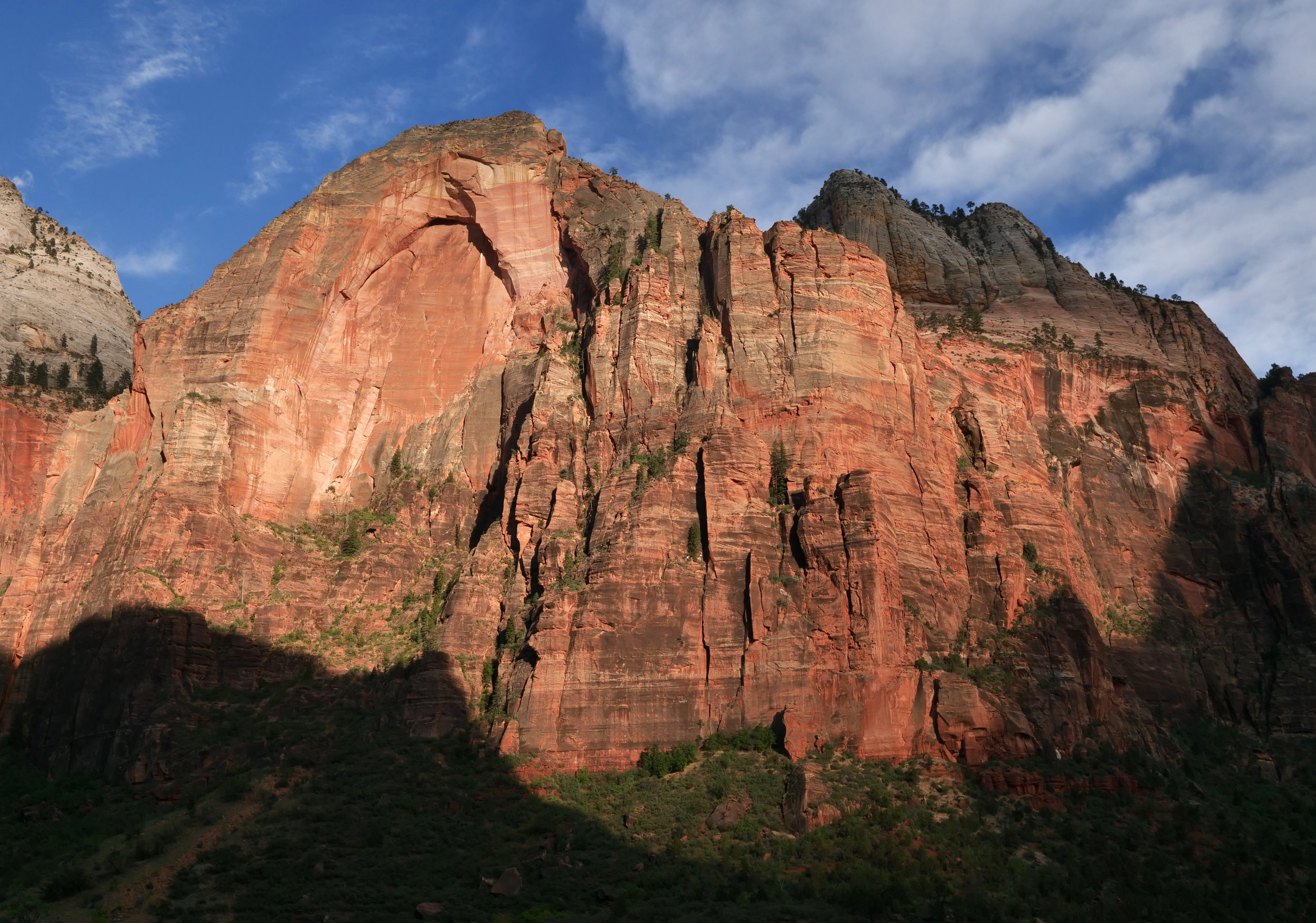 The clouds part on Friday evening to light up the sandstone cliffs at Zion