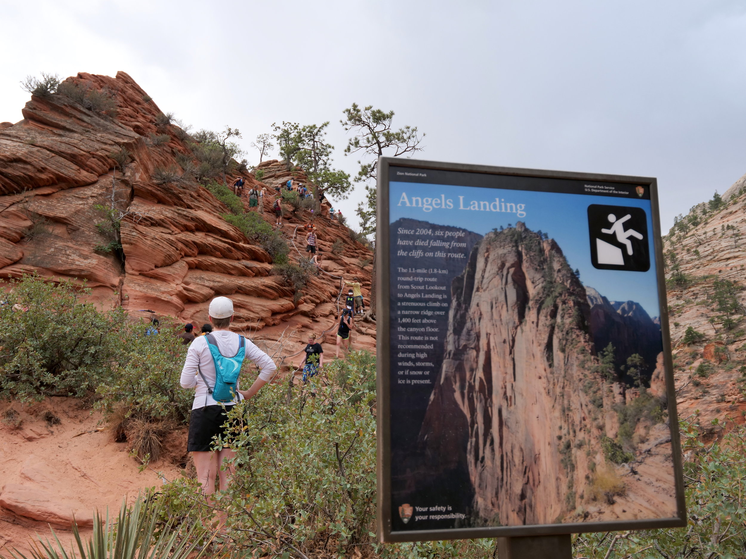 Angel's Landing warning sign