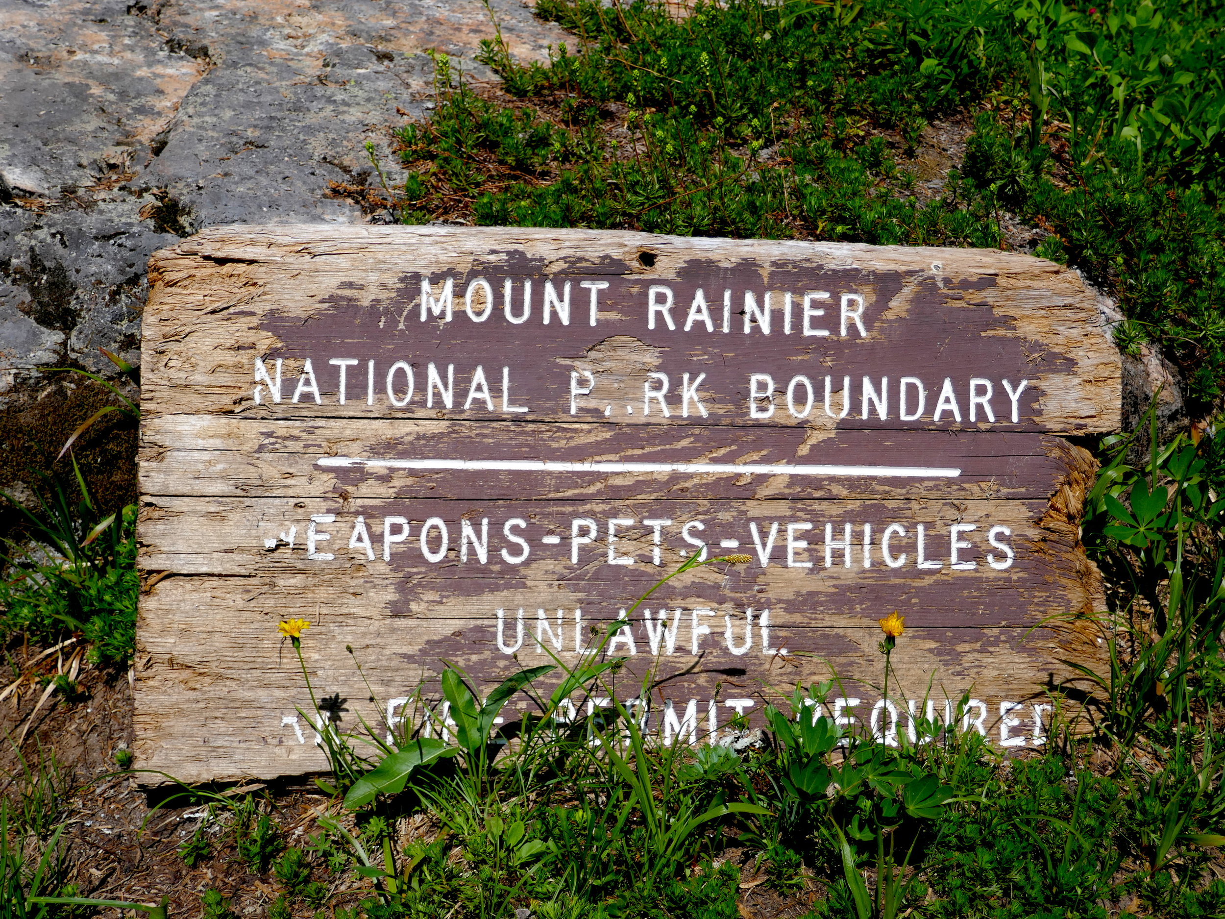 Outdated sign; the PCT pops in and out of MRNP heading north