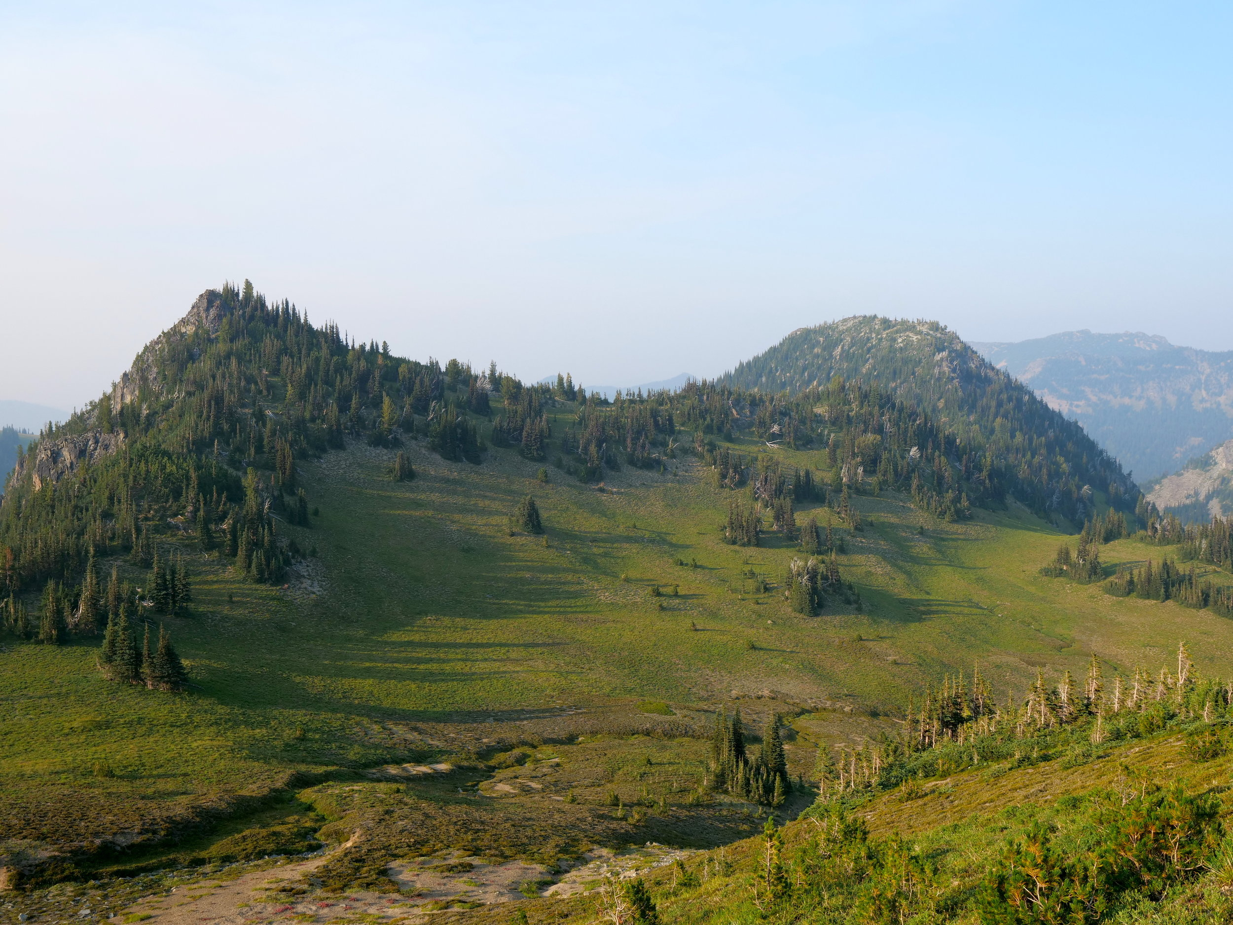 The meadow transited to access the ridge to McNeeley Peak (6786'), right frame