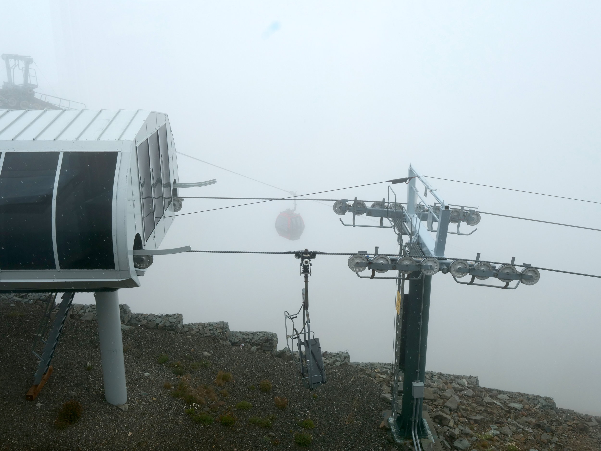 Low visibility and snow at the Summit House, Crystal Mountain (6900')