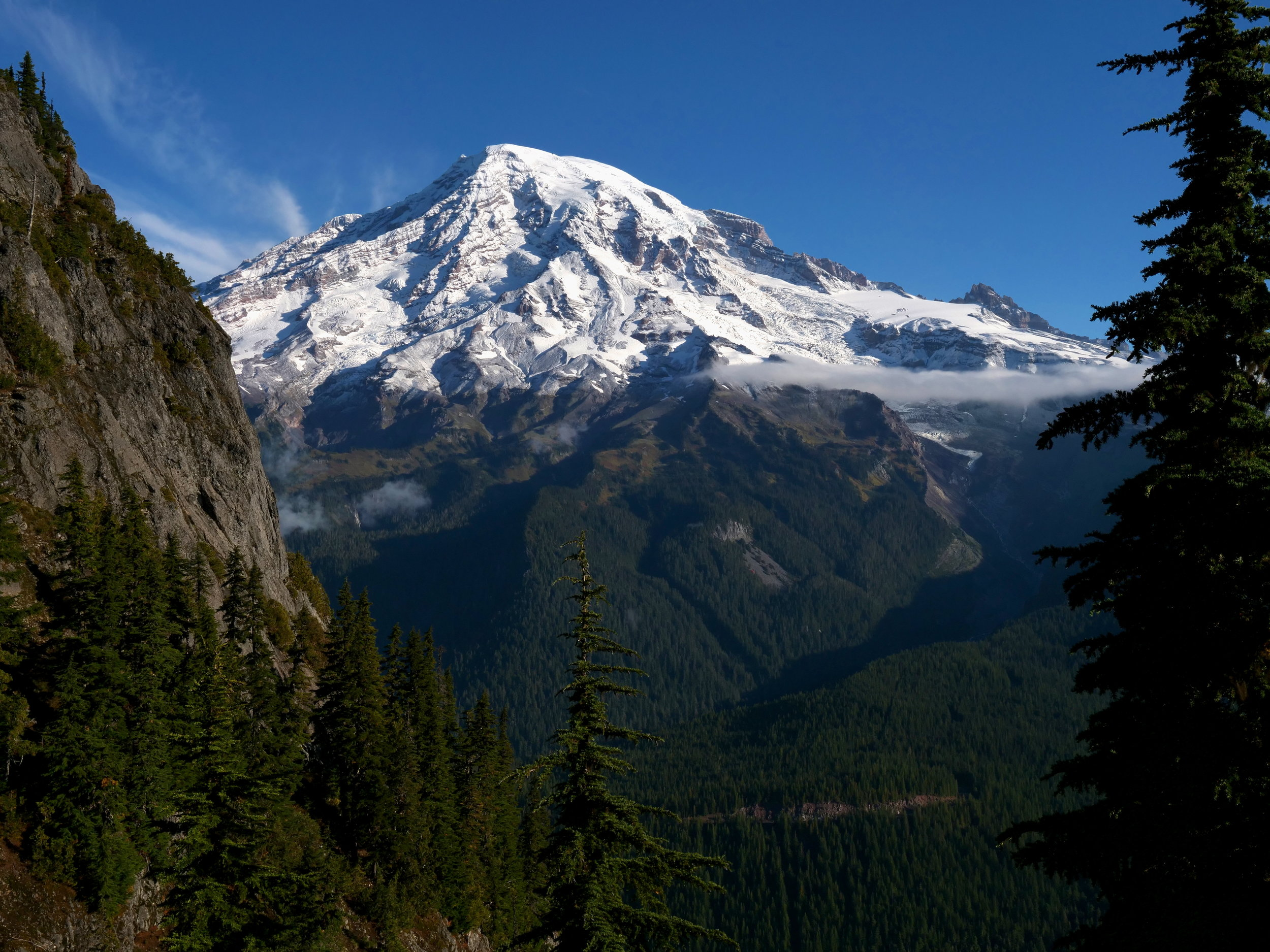 Mt. Rainier from past the saddle on the Eagle Peak trail