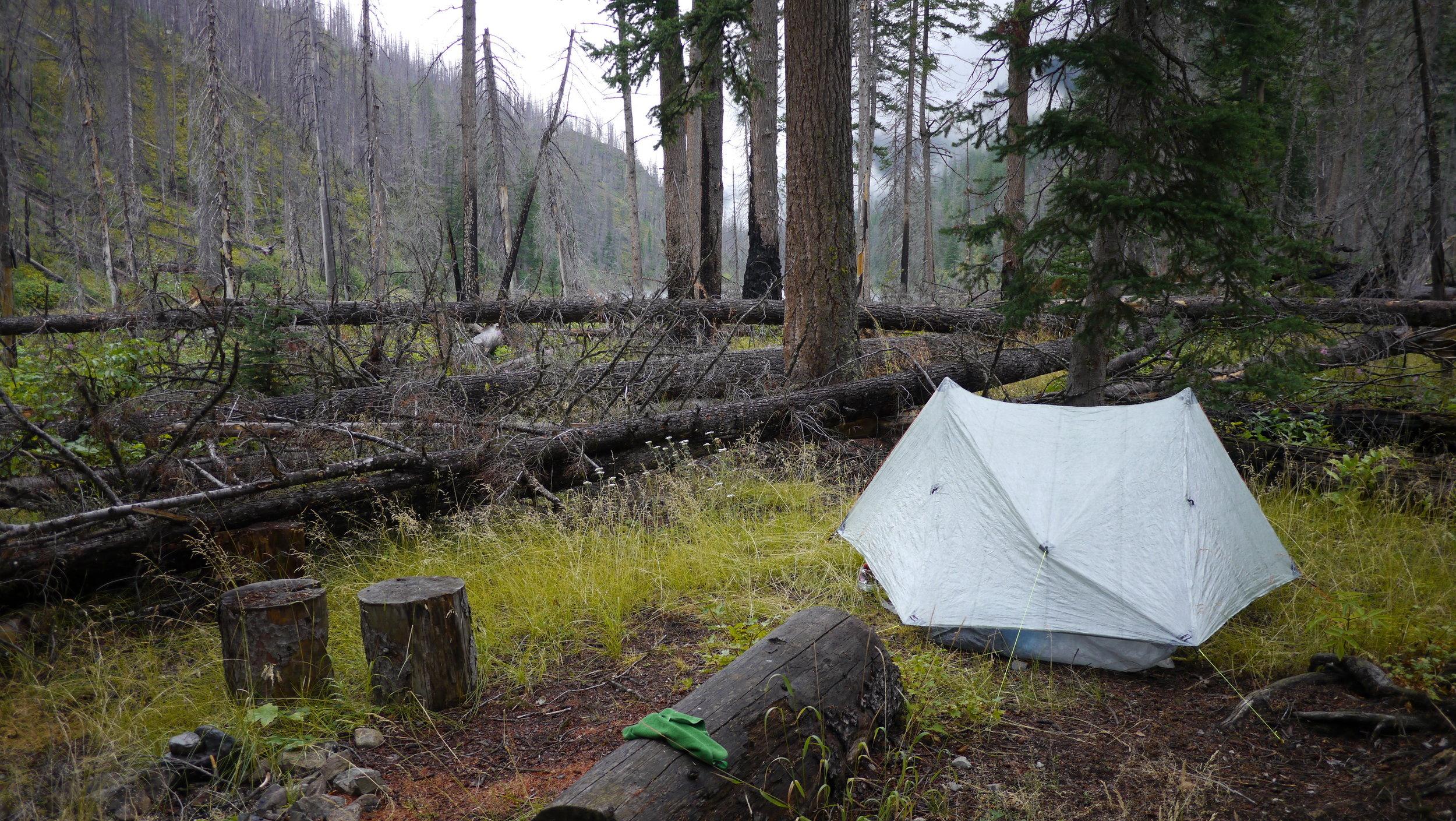 Duplex on campsite found in the dark: Middle Hidden Lake, WA.