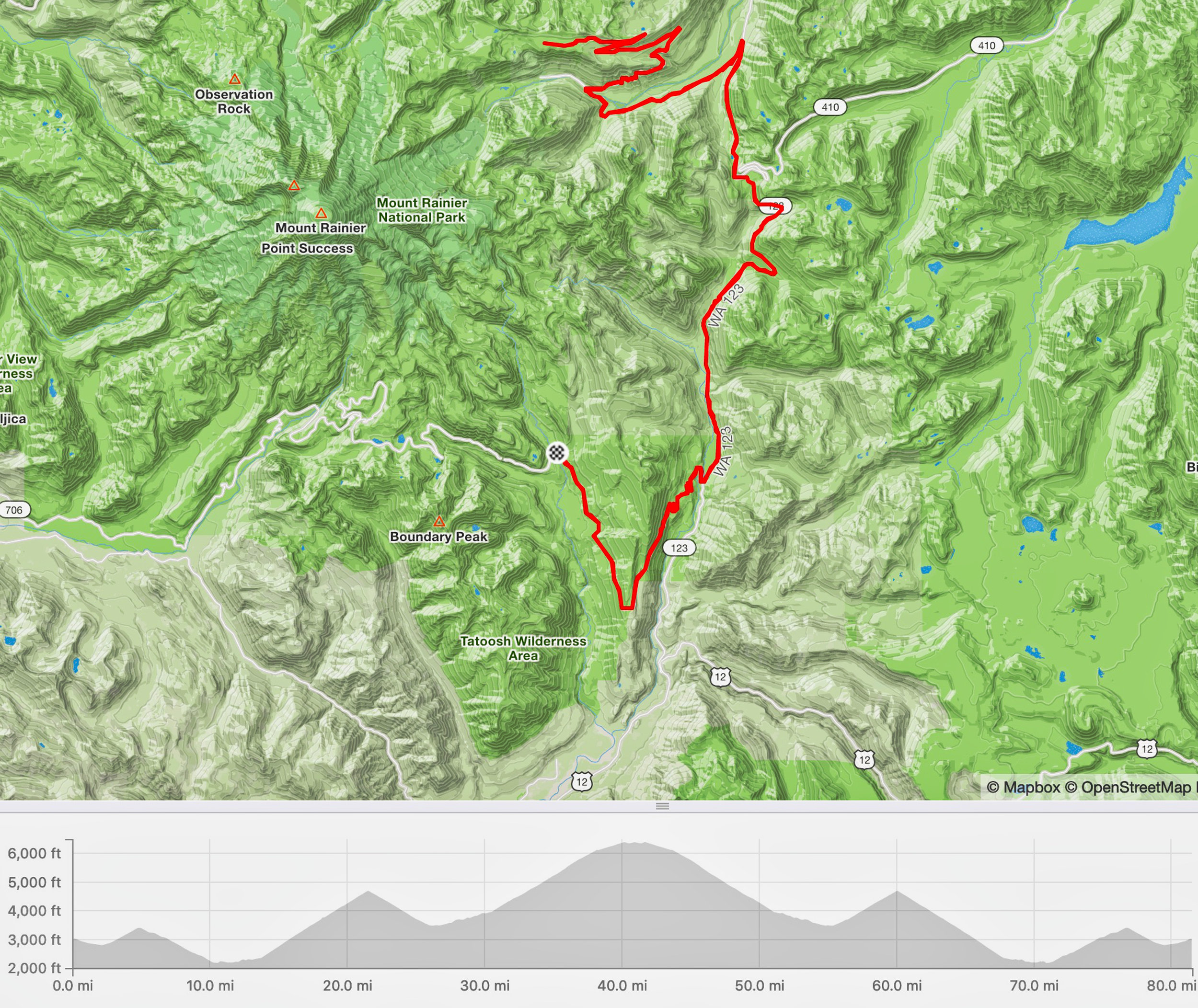 Course and climbs, starting and ending at Box Canyon (RIMROBOD Short Course: 81 miles/9200')
