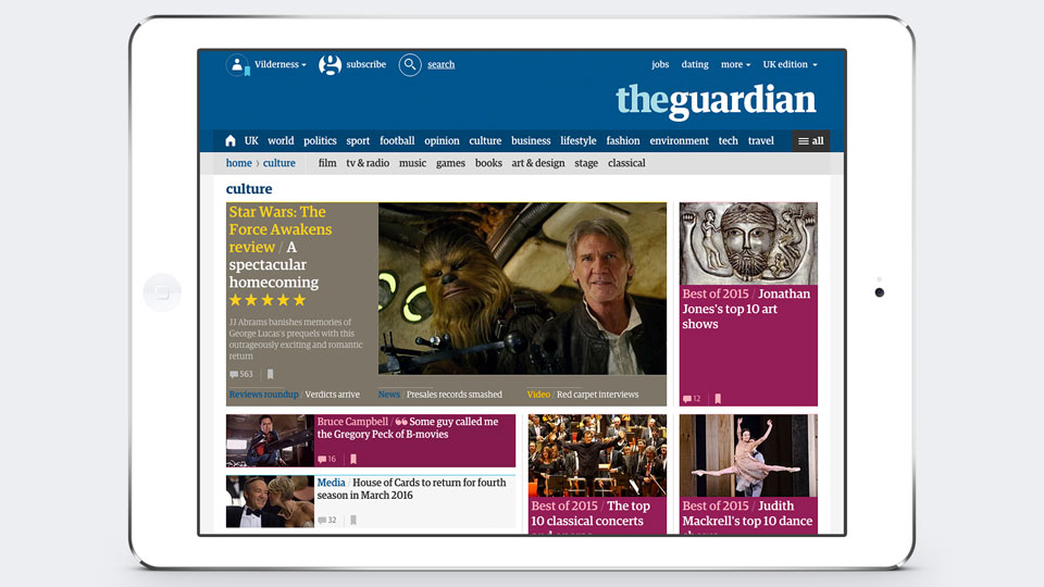 The Guardian - Responsive redesign of the Guardian website. Role: Lead design and design director.