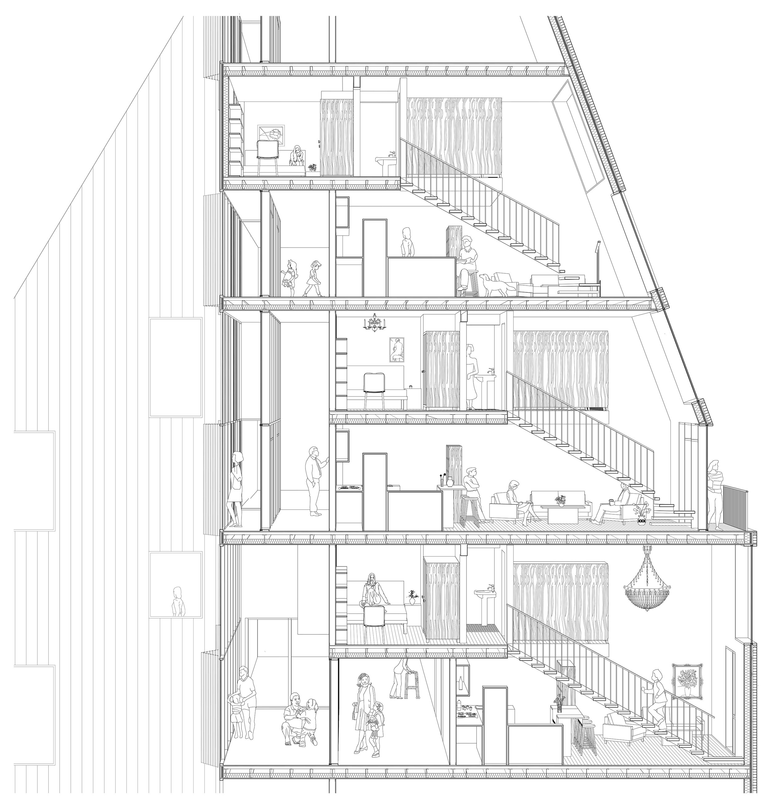 This is a sectional perspective indicating the spatial organization of the housing unit with the sloped roof and a depiction of the possible everyday life in this design proposal.