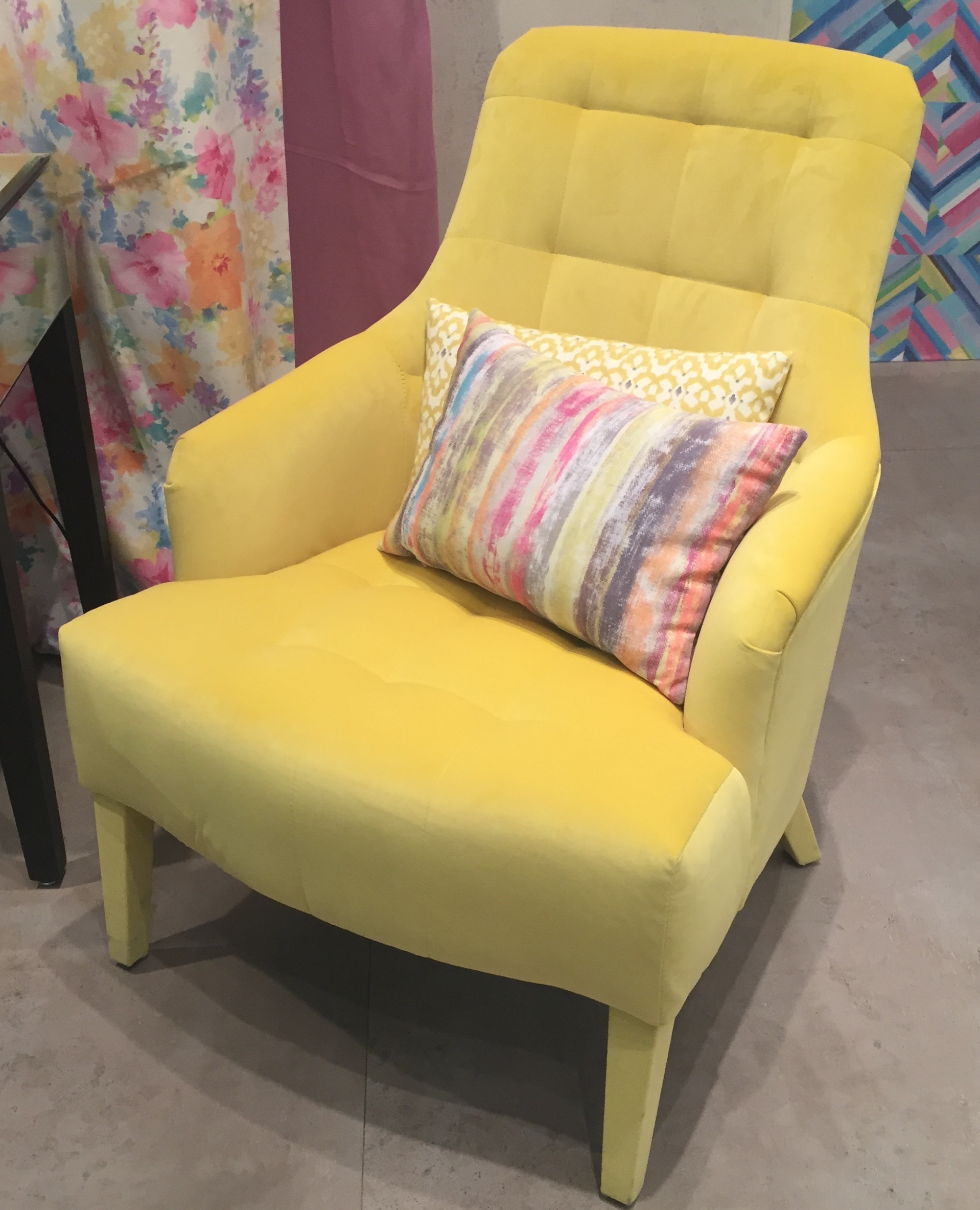 Yellow velvet upholstery - even on the legs.  Castilla Textil of Spain.