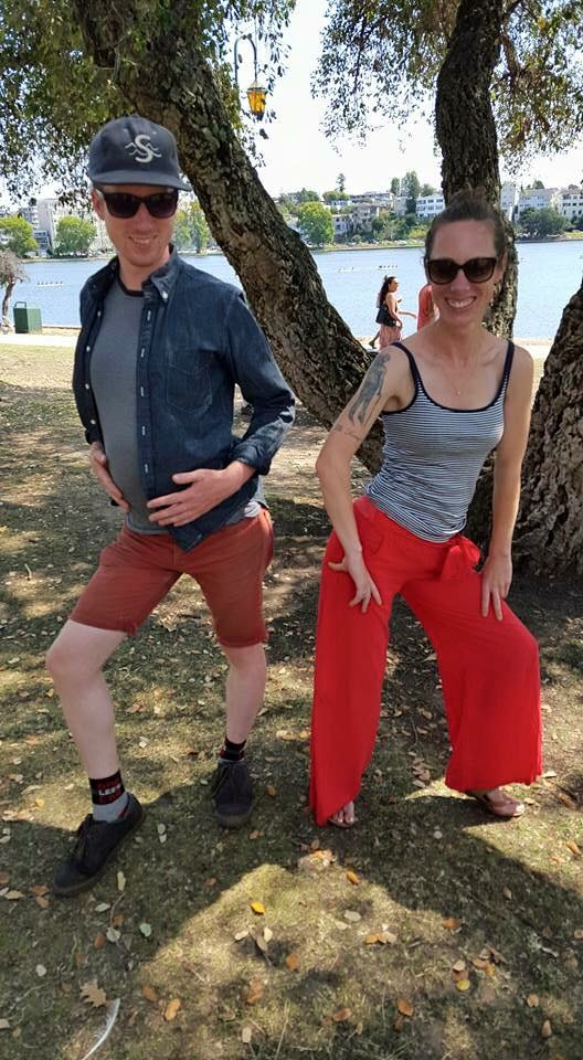 Goofing around with my brother in secondhand Splendid pants.