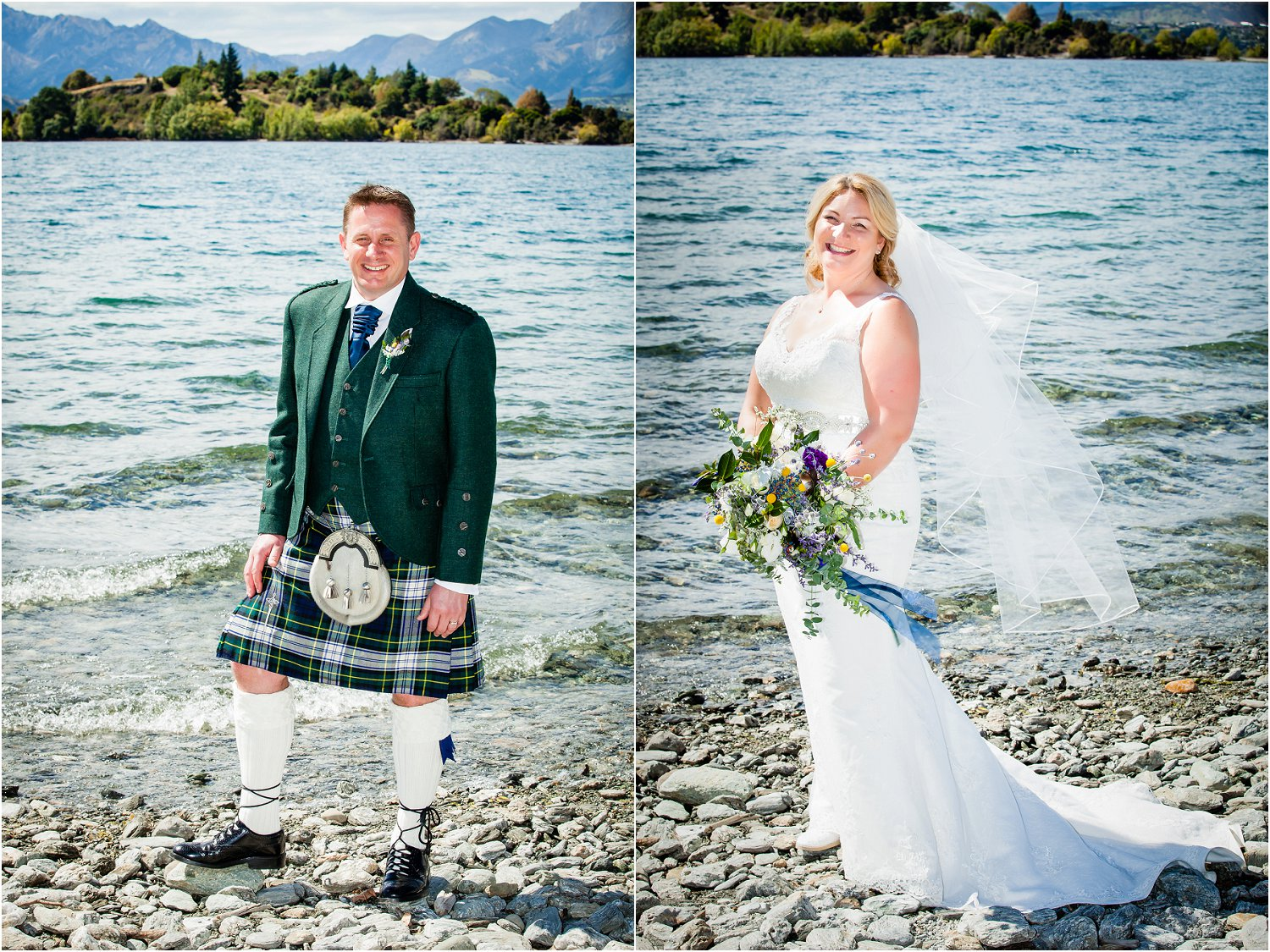 Bride and Groom at Lake Wanaka