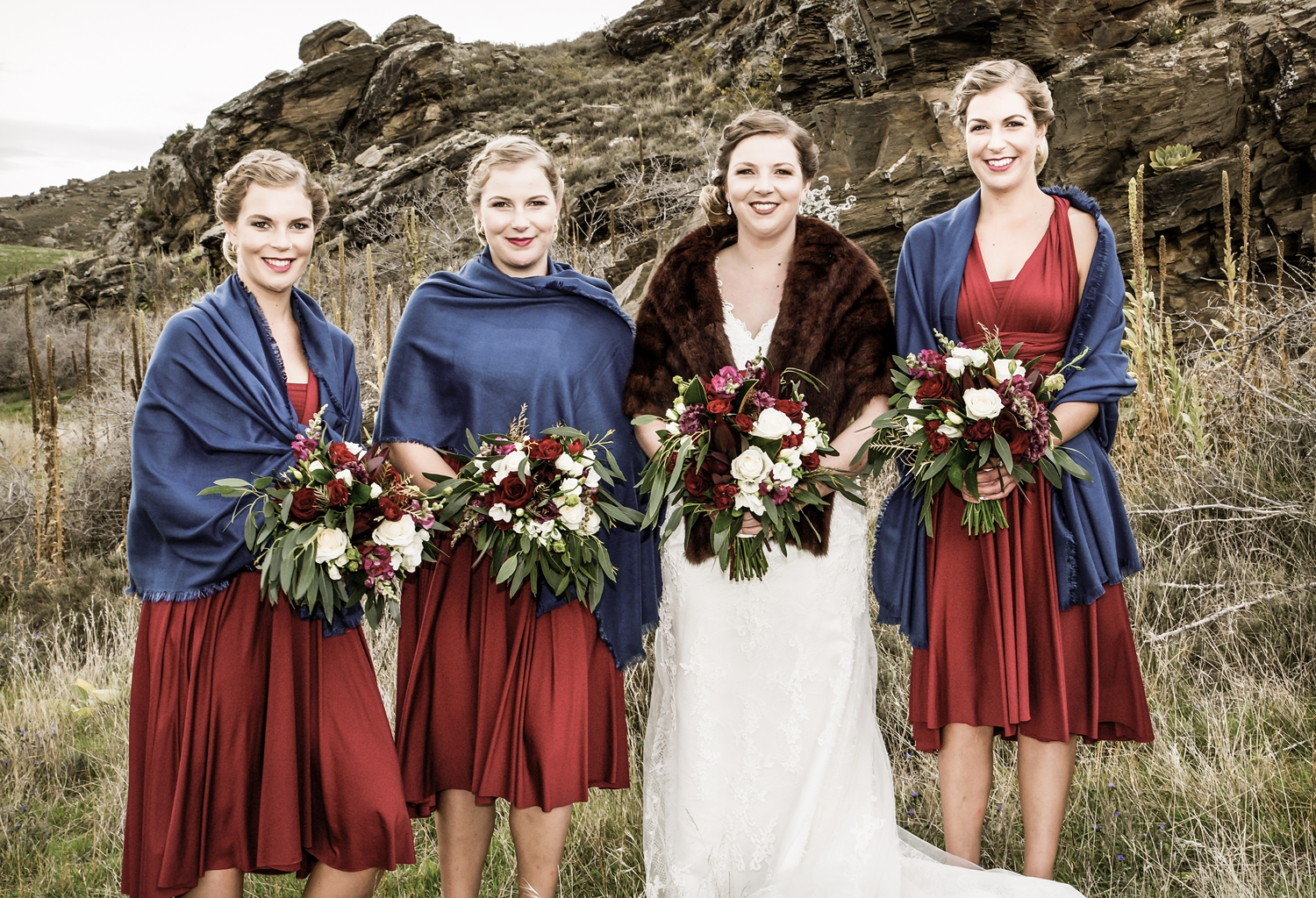 Bold beautiful reds for the bridal party
