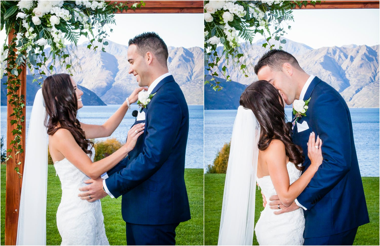 The first wedding kiss.